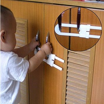1pcs Child Safety Cabinet Latches Baby Safe Closet Kitchen Door U-Shaped Lock  High-quality Environmentally Friendly Materials