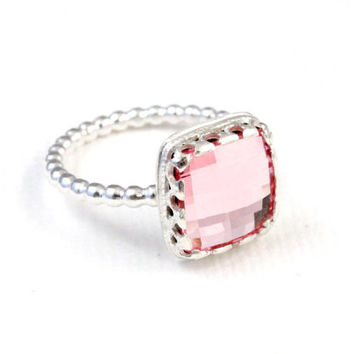 Pink ring, sterling silver, Swarovski rose pink chessboard crystal, vintage art deco style, beaded dotted bubble band, cocktail  ring