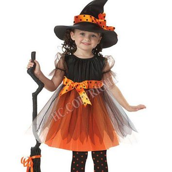 DCCKH6B Halloween Carnival Costume For Kids Witch Cosplay Dress With Hat Bowknot Party Girls Children Performance Disfraces