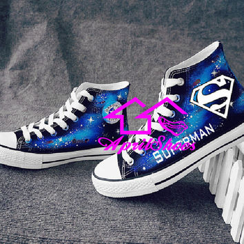 Galaxy Shoes with Hero Symbols, Custom Sneakers, Not Converse