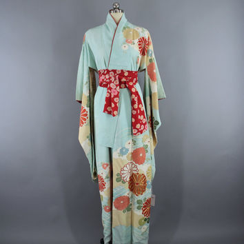 1960s Vintage Silk Kimono Robe / 60s Silk Furisode Wedding Dressing Gown / Loungewear Lingerie / Downton Abbey / Aqua Blue Floral Print