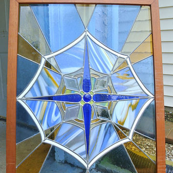 Antique Stained Stain Glass Window Panel Pane Arts and Crafts Mission Art Deco Faceted Cobalt Slag Milk Amber Beveled Leaded Lead Abstract