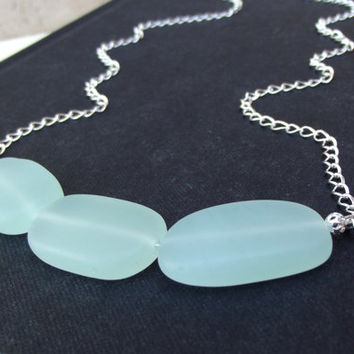 Seafoam Green Sea Glass Necklace:  Opaque Mint Green Freeform Pebble Beach Jewelry, Hammered Silver Chain Curved Bar Statement Necklace