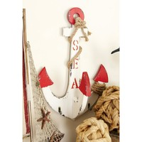 Vintage White Anchor Wall Hook Rack with Jute Rope-Wrap and Red Tips-87991 - The Home Depot