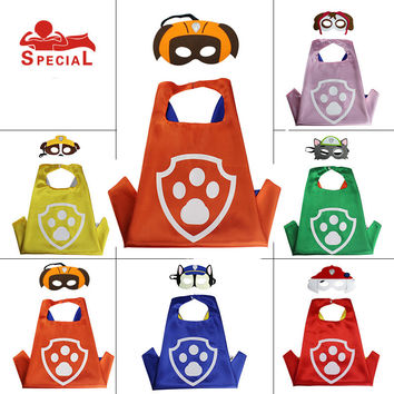 PAW kids XMAX Patrol Party Cape and Mask Set Superhero Dog Boys Girls Cartoon Clothes Birthday Party Favor DoubleSide Satin 2-8Y
