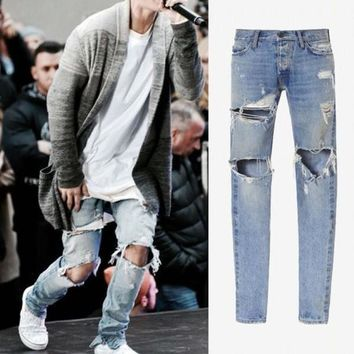 Kanye West Justin Bieber Brand Men Jeans Vintage Washed Ripped Hole Street Style Casual Jeans Side Zipper Fashion Man Clothing
