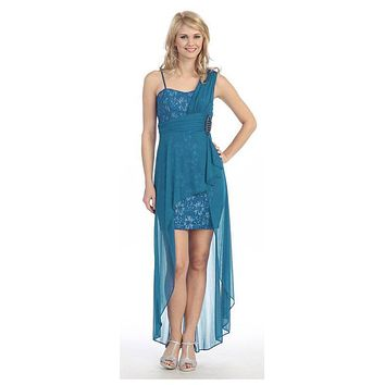 Spaghetti Strapped Short Chiffon Teal Sheath Semi Formal Dress