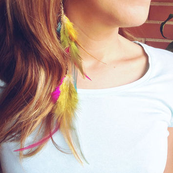 Dreamer Wings Earrings Customizable. Rainbow Boho Feathers Earrings. Long Tribal Feathers earrings Cruelty free. Choose colors and style