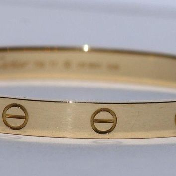 Cartier Love Bracelet 18k Yellow Gold Bangle Size 17 Excellent Condition