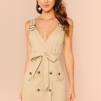Khaki Button Pockets Deep V Dress
