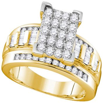 10kt Yellow Gold Womens Round Diamond Rectangle Cluster Bridal Wedding Engagement Ring 7/8 Cttw - Size 7.5