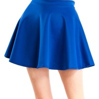 Royal Blue Ladies Scuba Skater Skirt Banded Waist Flared Hem