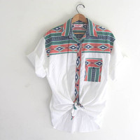 vintage southwestern short sleeve shirt. tribal button down top. oversized