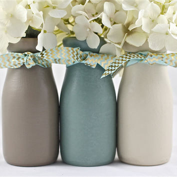 Boy Baby Shower Centerpiece Baby Shower Decorations Nursery Decor Blue  Brown Half Pint Painted Milk Bottles