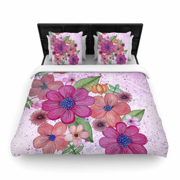 "KESS InHouse Julia Grifol ""My Garden In Pink"" Magenta Floral Twin Woven Duvet Cover, 68 by 88-Inch, 68"" X 88"""""