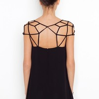tourtown — Elegant chiffon mesh woven hollow out design  dress