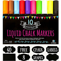 10 KYNSA Chalk Markers + 40 FREE Chalkboard Labels Bundle Set | Reversible Tip Pens For Chalkboards, Window, Glass, Whiteboard, Blackboard, Storage, Canning, Jars, Canisters, Cans, Kitchen Tags
