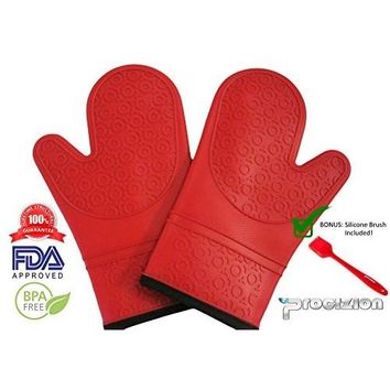 Silicone Mitts 1 Pair in Red Ultra Flex and Soft for Oven Cooking Mittens