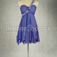 edressy — A-line One Shoulder Chiffon Short/Mini Beading Party Dress at Dresseshop.ca