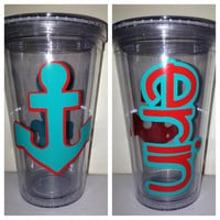 Personalized Anchor Tumbler - 16oz Double Wall Acrylic - Nautical Theme Customized with Your Name - Spring Break, Beach Vacation Accessory