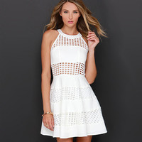 White Halter Plaid Cut-Out Skater Dress