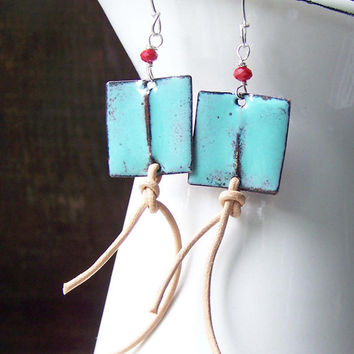 Etsy, Etsy Jewelry, Enamel on Copper, Light Blue Enamel Earrings, Enamel and Leather, Red Quartz Faceted Beads, Fold Formed Earrings