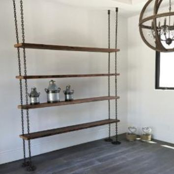 Hanging Chain Shelving with 100 year old reclaimed wood