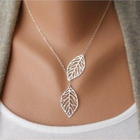 Fashion Silver Leaves Necklace Clavicle Chain