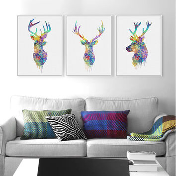 Triptych Original Watercolor Deer Head Animals A4 Art Print Poster Wall Pictures Living Room Canvas Painting No Frame Home Decor