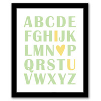 Abc I Love You, Nursery Wall Art, Green and Yellow, Playroom Decor, Children's Art, Kids Room, Printable Art, ABC Art, INSTANT DOWNLOAD.