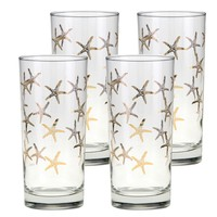 Culver Gold 22k 15-Ounce Cooler Glass Set of 4 (Starfish)