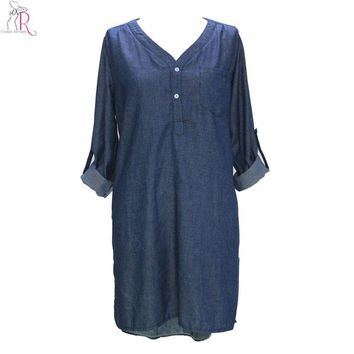 Dark Blue Denim Long Sleeve Mini Shift Fall Dress V Neck Chest Pocket Side Split High Low Hem Spring Women New Clothing