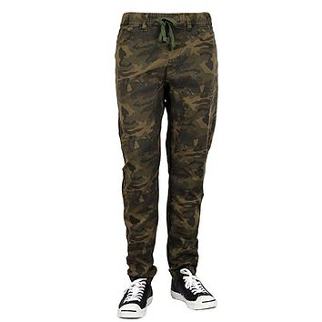 Solid Color Harem Twill Jogger Pants in Olive Camo