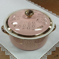 Covered Casserole Hall's Superior Quality Kitchenware ~ Pink & Gold Basket Weave