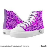 Hibiscus Pink and Purple Pattern High-Top Sneakers
