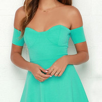 Mint Green Strapless Skater Mini Dress