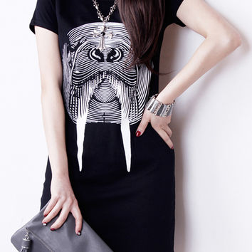 Black Walrus Printed T-Shirt Dress