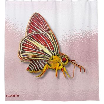 Psychedelic Colorful Fantasy Butterfly Drawing Shower Curtain
