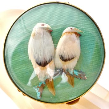 Miref Vintage Feather Bird Green Compact Mirror Paris