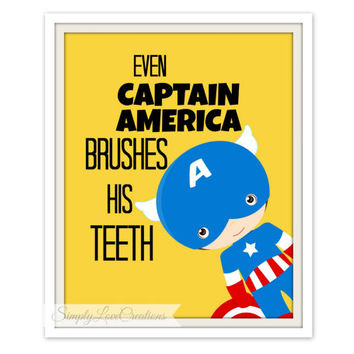 "Superhero Bathroom Print  - ""Even Captain America Brushes His Teeth"" - Comic Book Print // Pop Art Print -Batman-Spider-man-Captain America"