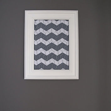 White Framed Chicken Wire Organizer / Memo Board / Jewelry Hanger / Gray & White Chevron