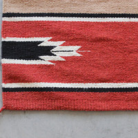 Vintage Saddle Blanket Rug Woven Mexican Native by castandcrew