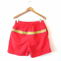 Mns Vintage 1980s Red Striped Swim Trunks Sz M