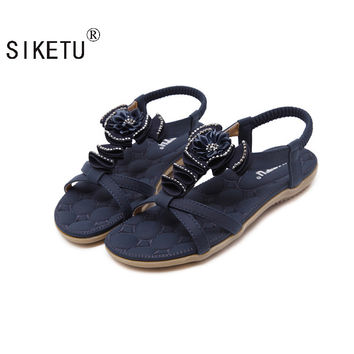 SIKETU Size 35-41 Summer Sandals Bling Rhinestone Flats Women Platform Wedges Sandals Fashion Flip Flops Comfortable Shoes Woman