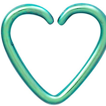 Fake Cartilage Earring: Titanium IP Plated Surgical Steel Green Heart Shaped Clip-On Cartilage Hoop
