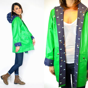 MALLARD DUCK novelty print oversized boyfriend HOODED raincoat preppy slicker anorak, extra small-large