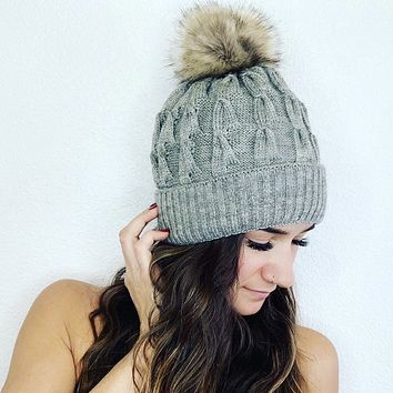 (SALE) Faux Fur Cable Knit Beanie with Removable Pom Pom