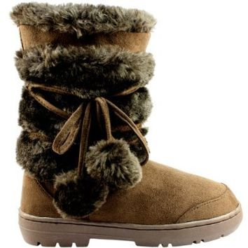 Womens Pom Pom Fully Fur Lined Waterproof Winter Snow Boots
