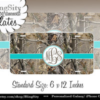 Aqua Teal Monogram License Plate Metal Wall Sign for Auto Car Truck Tags Personalized Custom Vanity Tree Camo