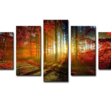 "SZ HD Painting H734 Canvas Print for Home Decoration, Framed, Stretched - 5 Panels Sunrise Forest Painting Wall Art - 8""x12""x2pcs +8""x16""x2pcs +8""x20""x1pcs, High Definition"